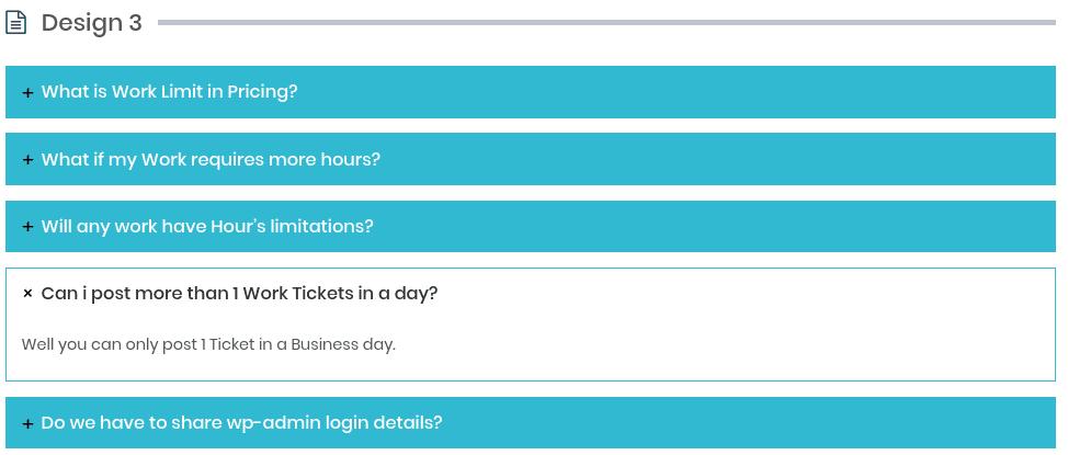 A FAQ section on a WordPress FAQ plugin demo.