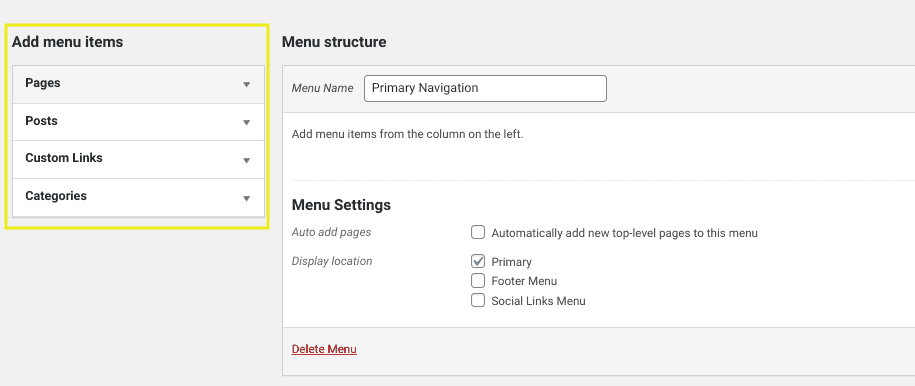 The 'add menu items' section in WordPress.