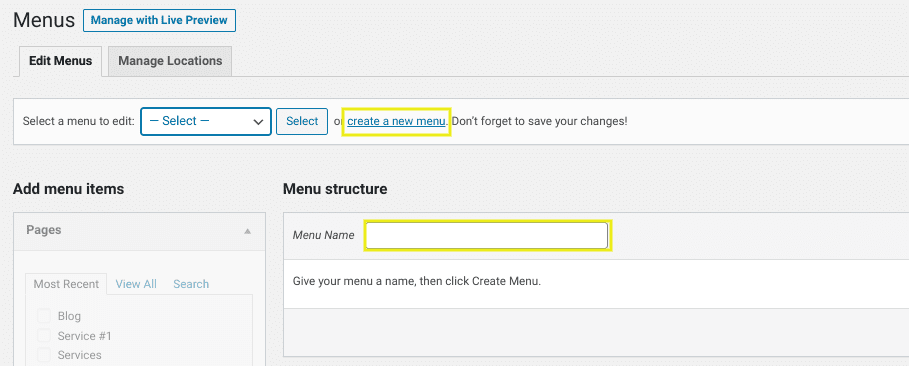 The screen to create a custom menu in WordPress.