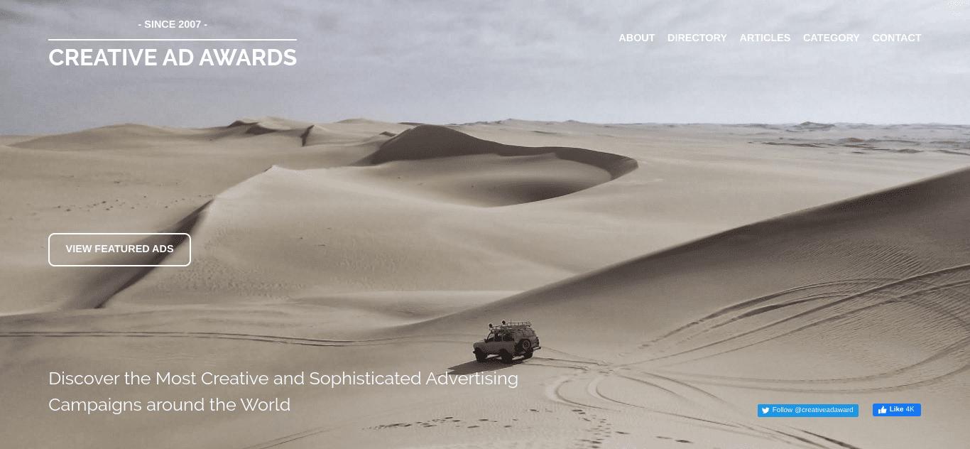 The Creative Ad Awards WordPress website.