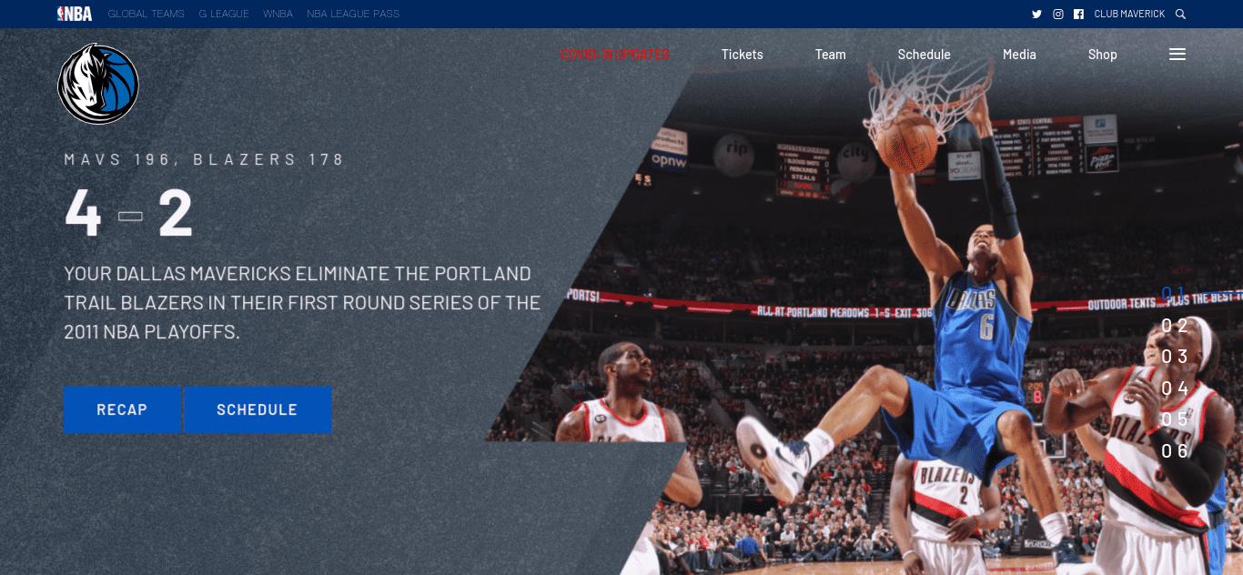 The Dallas Mavericks website.