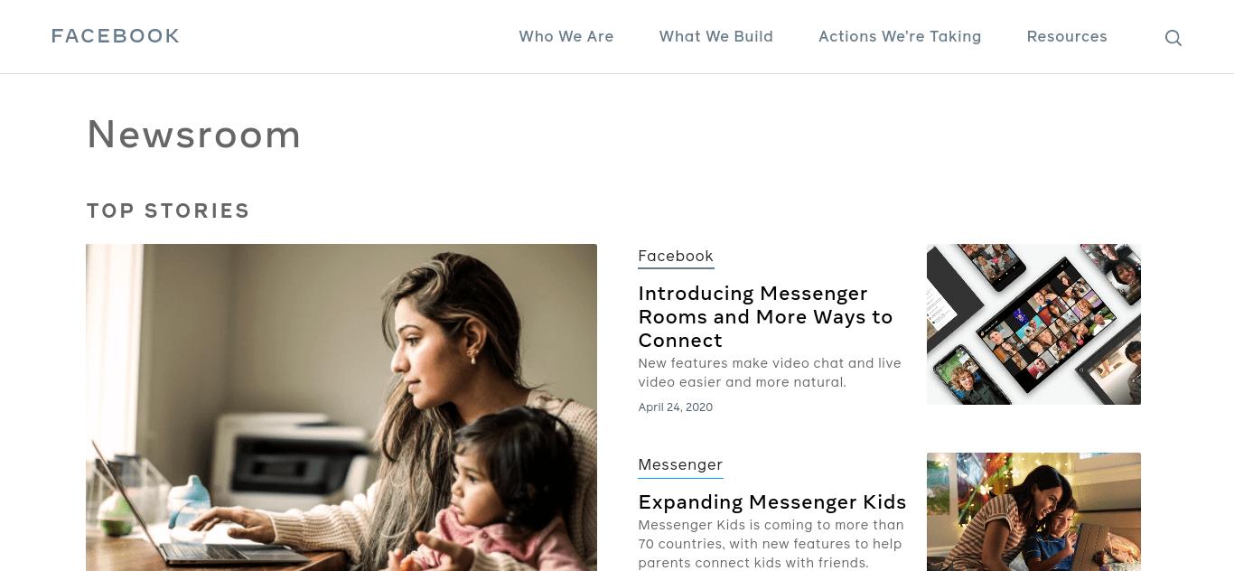 The Facebook Newsroom famous WordPress website.