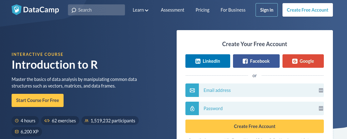 A free online course offered by DataCamp.