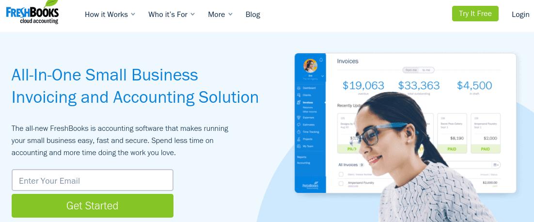 The FreshBooks website.