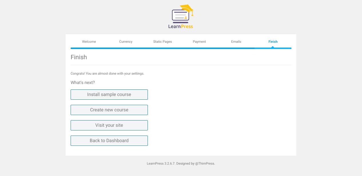 The last page of the LearnPress LMS WordPress plugin setup wizard.
