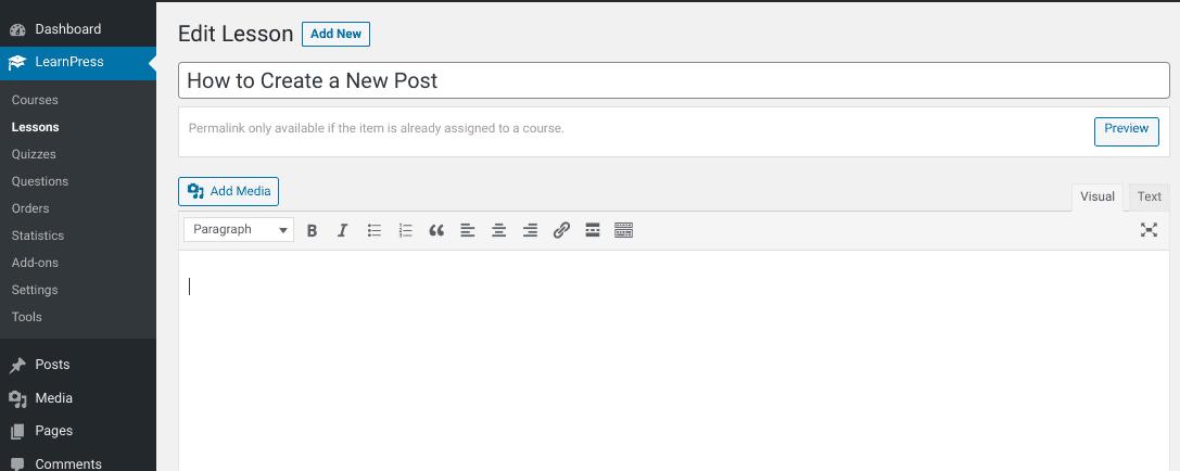 The lesson editor screen in the LearnPress WordPress plugin.