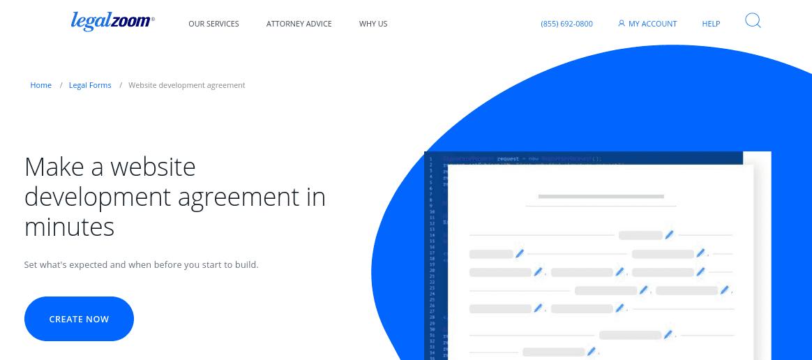 The website developer agreement on LegalZoom.