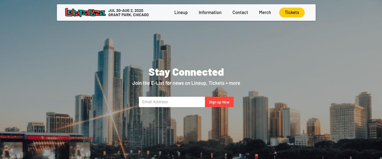 The Lollapalooza WordPress website.