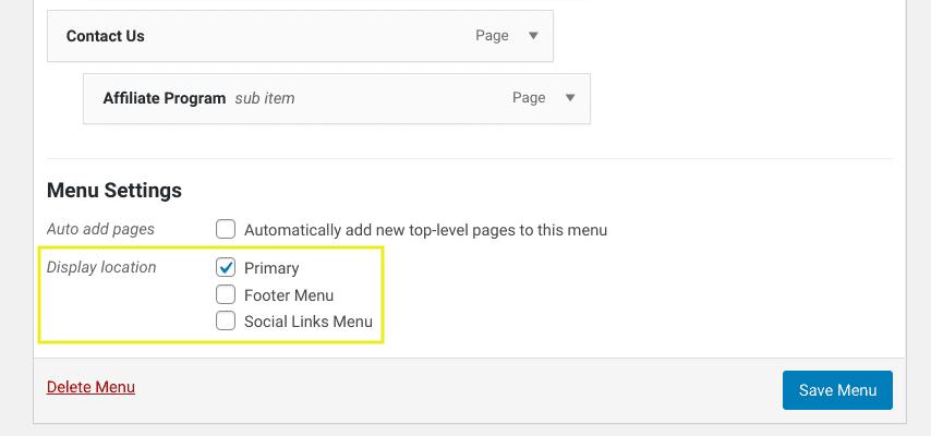 The menu display location settings in WordPress.