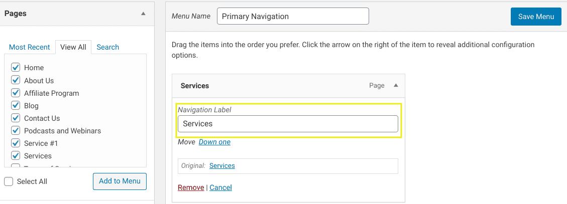 The menu item navigation label field in WordPress.