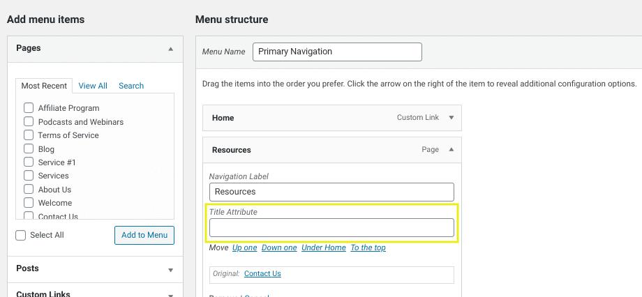 The 'title attribute' field in a WordPress menu item.