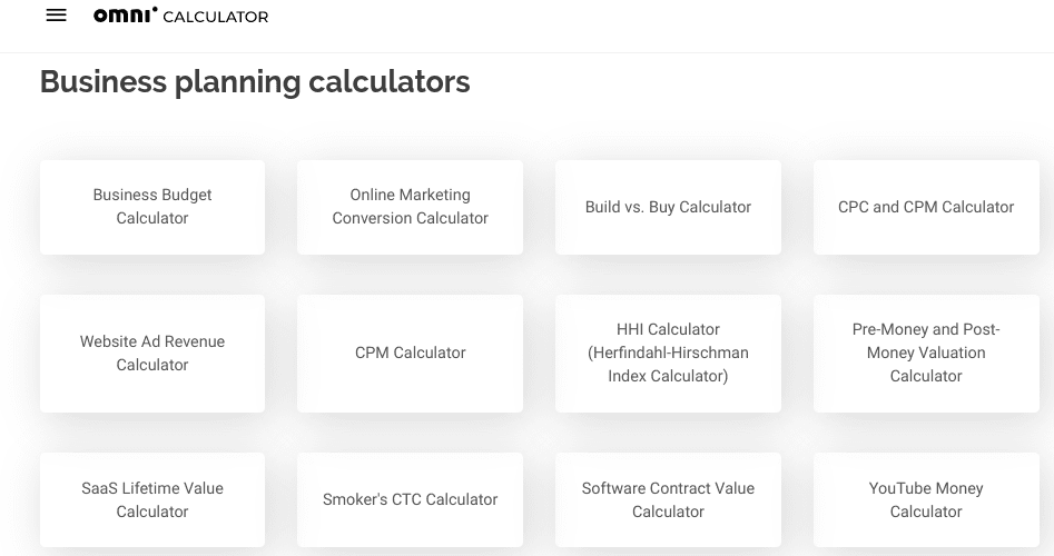 The Omni calculator website.