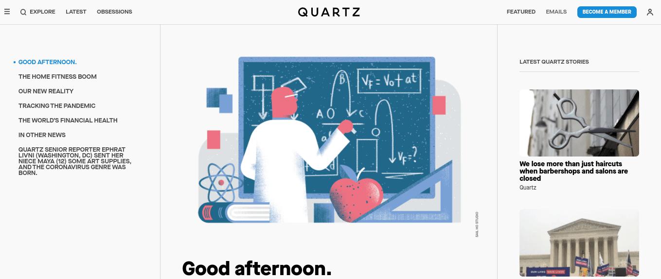 The Quartz website.