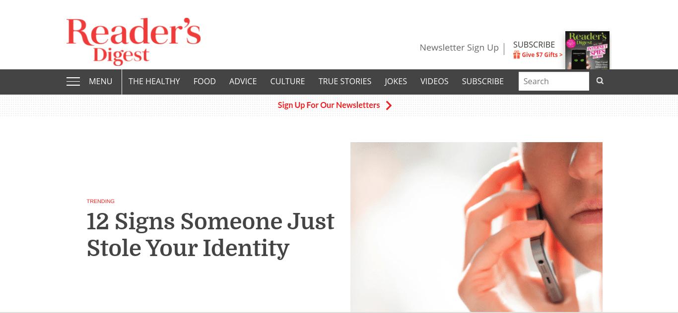 The Reader's Digest WordPress website.