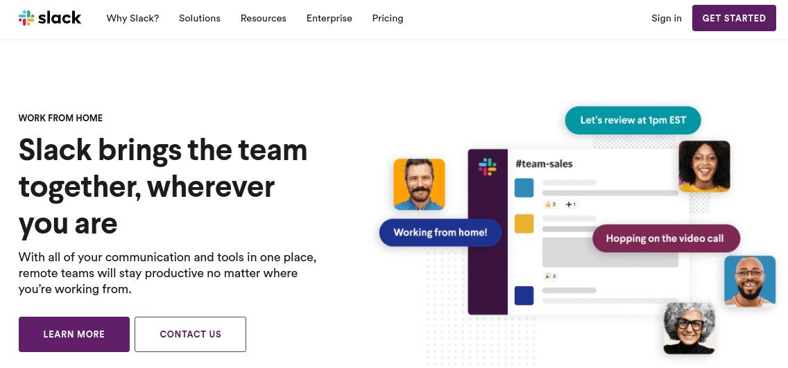 The Slack website.