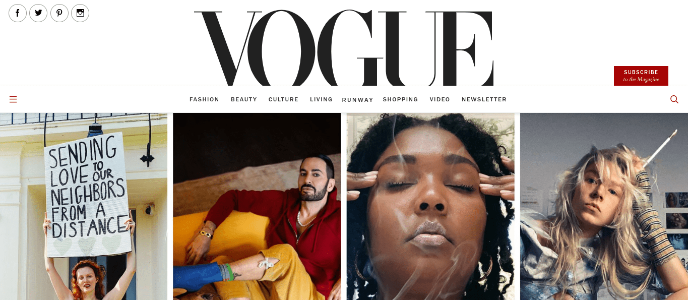 The Vogue website which is a famous WordPress website example.