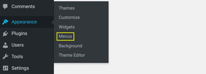 The menu item in WordPress.