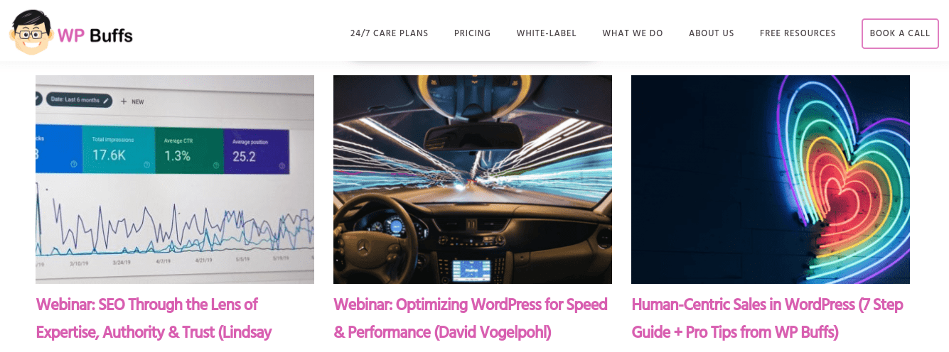 The WP Buffs webinar page.