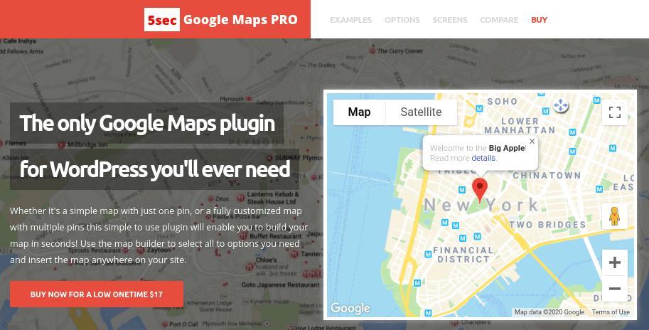 The 5sec Google Maps plugin for WordPress.