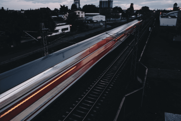 A moving train.