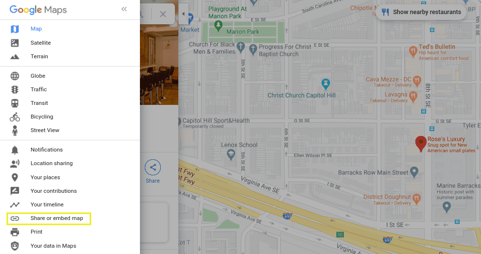 The menu option to share or embed a Google Map.