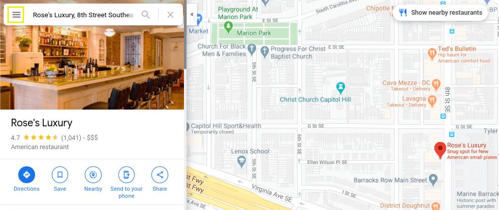 The menu icon in Google Maps.
