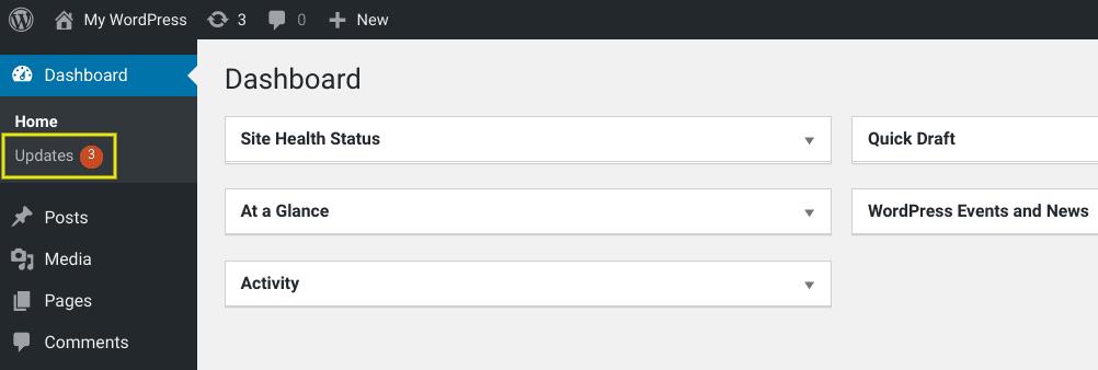 The 'Updates' menu item in WordPress.