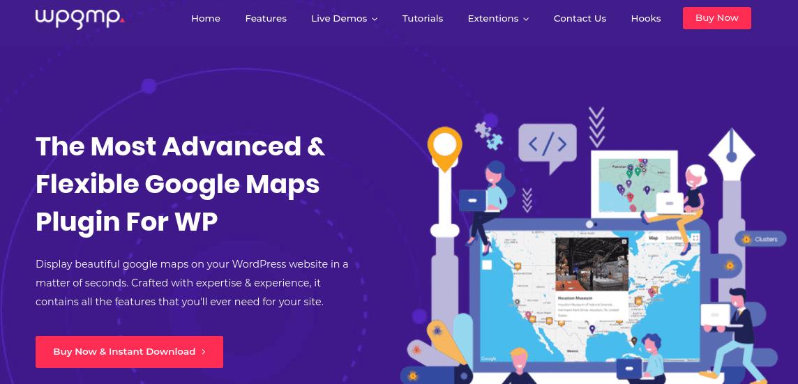 The WP Google Maps Pro plugin website.