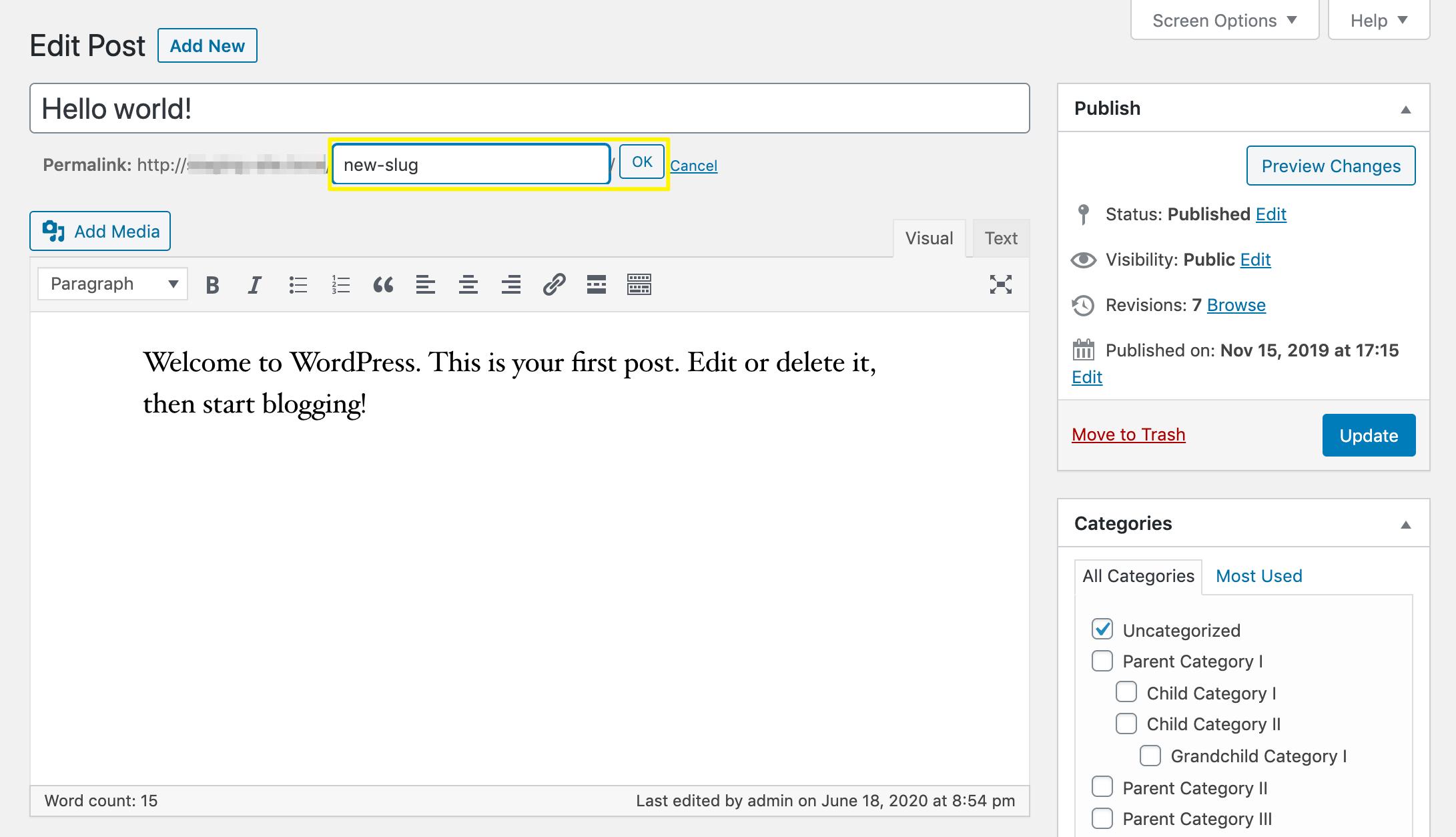 Updating Classic Editor WordPress slug.