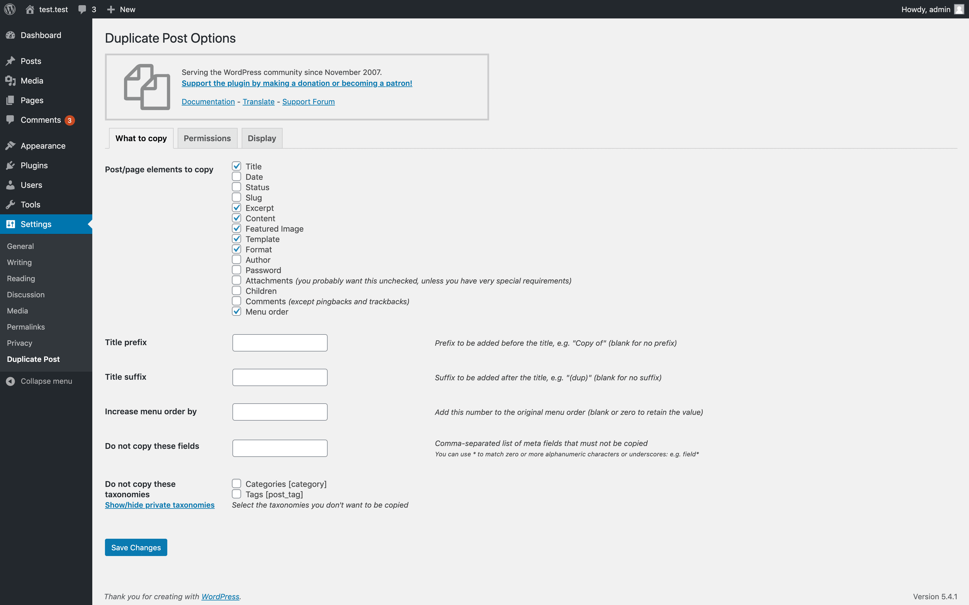 The Duplicate Post settings page.