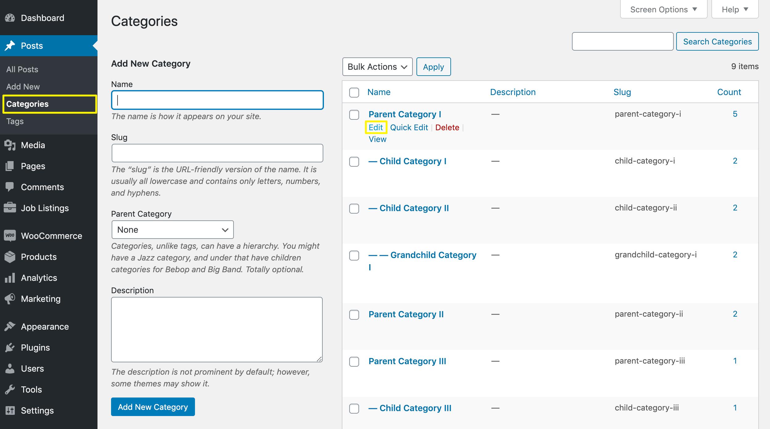 Editing a WordPress category.