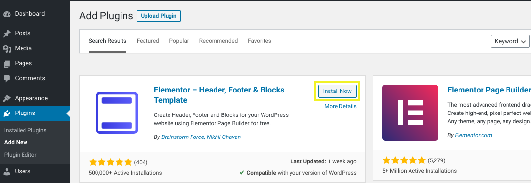 The option to install the Elementor Footer Template plugin in WordPress.