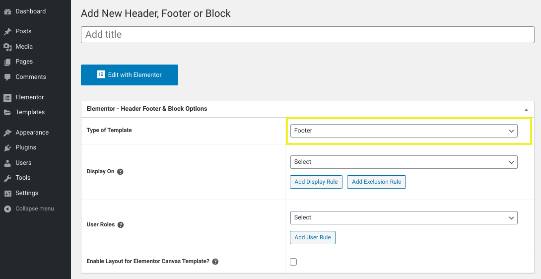 The screen to add a new footer template in the Elementor WordPress plugin.