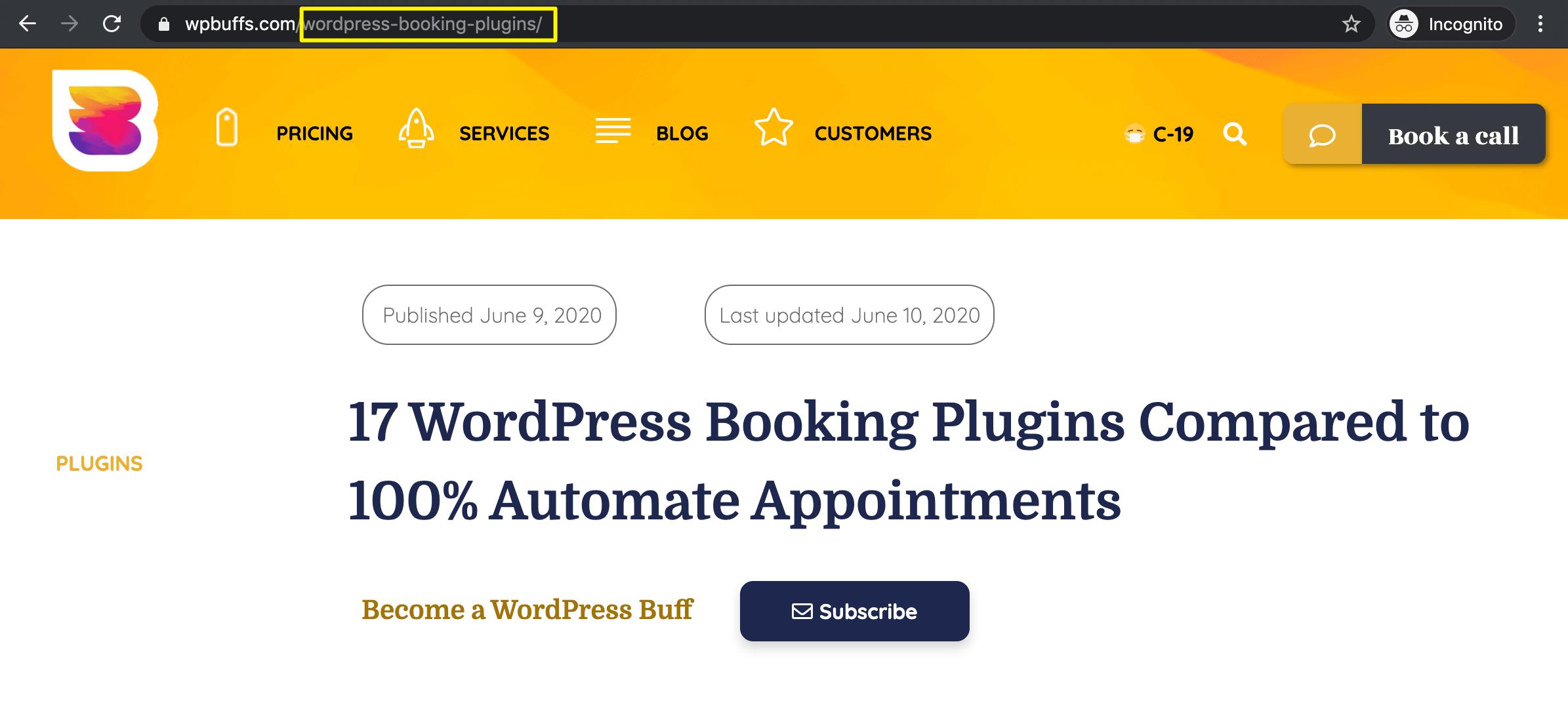 A short WordPress slug.