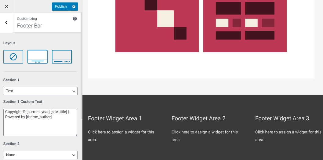 The footer layout options in the WordPress theme customizer.