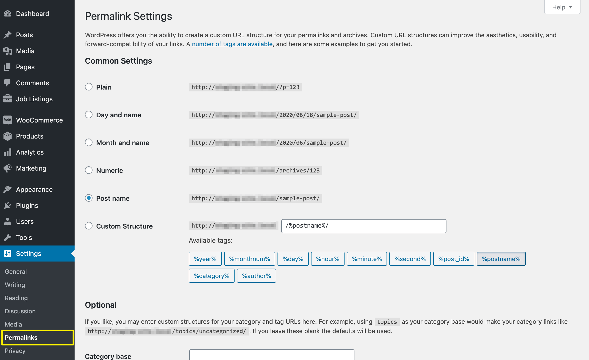 WordPress' permalink settings.