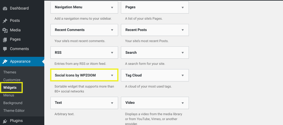 The available widgets page in WordPress.