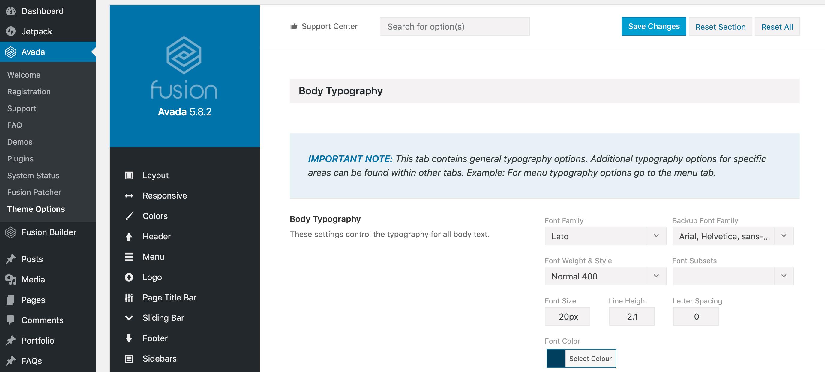 Avada's admin panel.