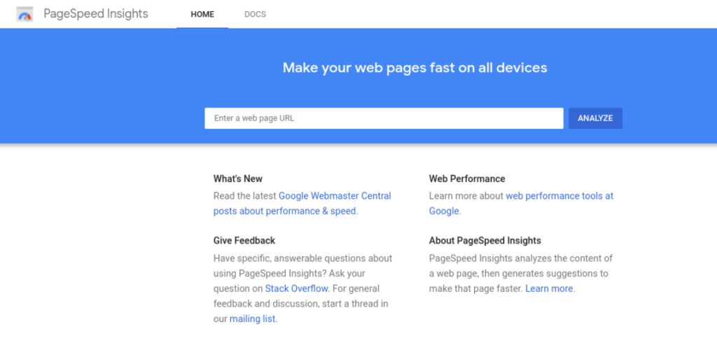 The Google PageSpeed Insights website.
