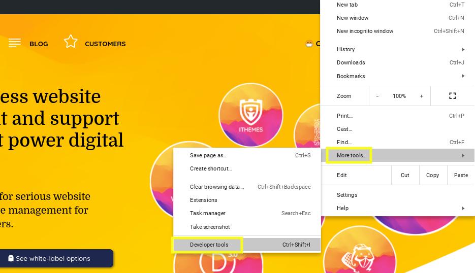 The Chrome DevTools menu item.