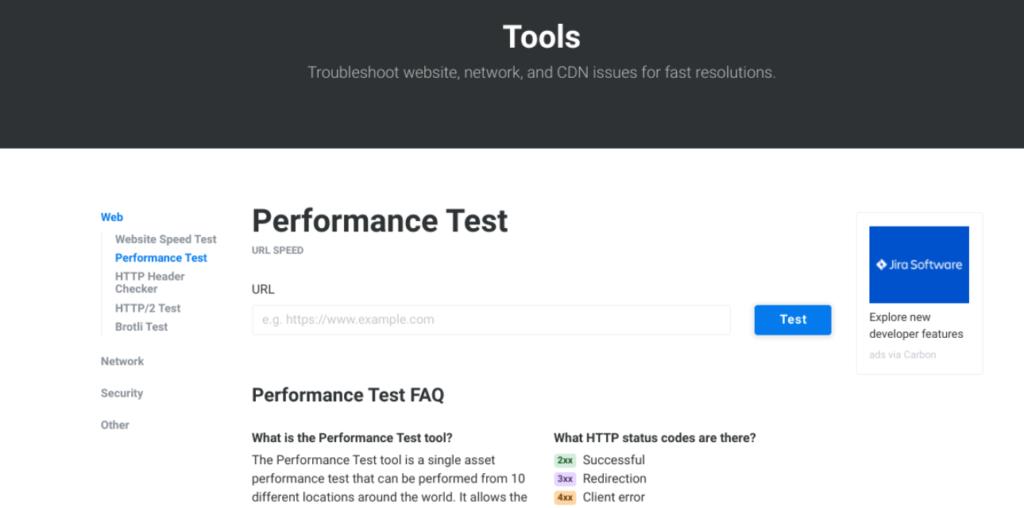 The KeyCDN Performance Test tool.