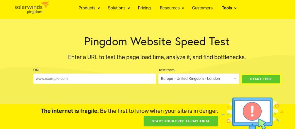 The Pingdom Tools website.