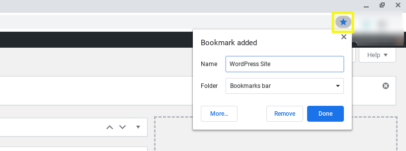 Bookmarking a WordPress site in Google Chrome.