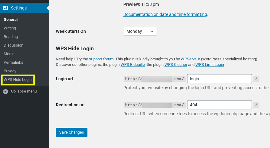 The settings to change the WordPress login URL with WPS Hide Login plugin.