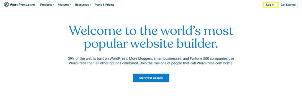 Logging into WordPress.com.