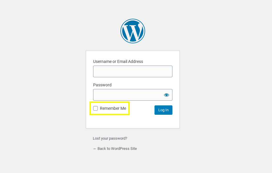The 'remember me' option on the WordPress login page.