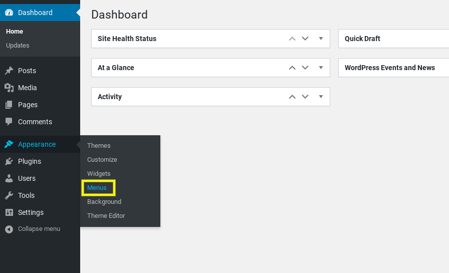 The WordPress 'Menus' item from the dashboard.