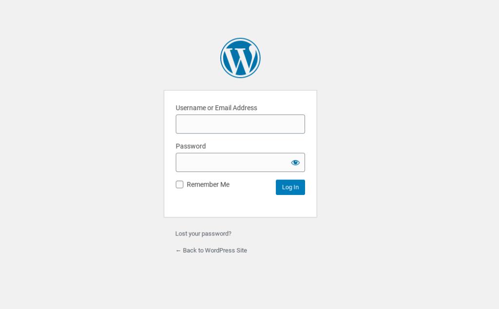 The WordPress website login page.