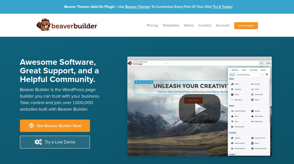 The Beaver Builder email marketing plugin website.