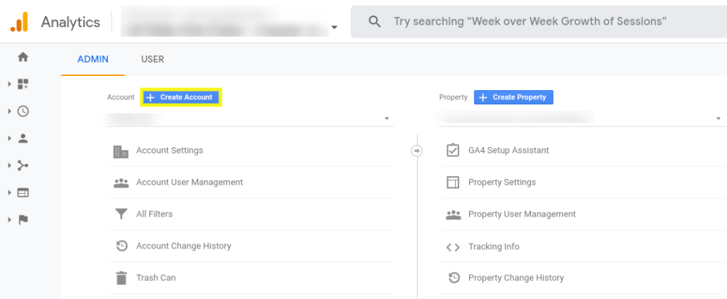 The option to add a new account in Google Analytics.